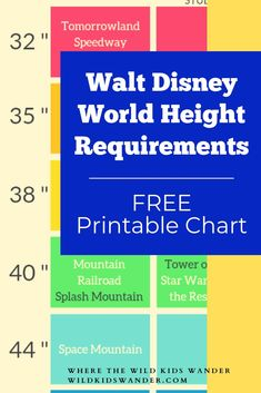 Walt Disney World height requirements broken down by park. Free printable to bring with you for quick reference! - Where the Wild Kids Wander - Disney Vacation Disney World Tours, Disney World Park Tickets, Walt Disney World Rides, Disney World Florida, Disney World Parks, Disney World Height Requirements, Travel With Kids, Family Travel, Weekend Getaways With Kids