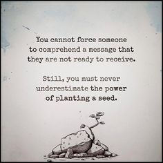 You cannot force someone to comprehend a message that they are not ready to receive. Still, you must never underestimate the power of planting a seed,