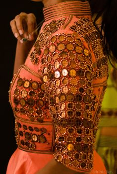 indian south asian desi fashion detail. gold. WIFW SS 2014: Anaikka by Kanika Saluja