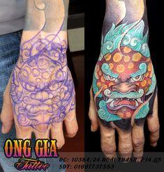 Foo Dog Tattoo Design, Japan Tattoo Design, Badass Tattoos, Dog Tattoos, Body Art Tattoos, Japanese Hand Tattoos, Japanese Tattoo Designs, Lion Hand Tattoo, Hand Tats