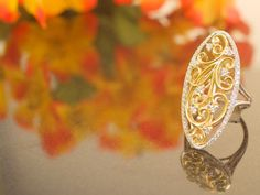 Just the right balance of gold diamonds and whimsy. Bonus: Pairs perfectly with fall foliage   #jewelry #ring #gold #diamonds #fall #fallfashion #doylestown #doylestownjeweler #buckscounty #buckscountyjeweler #whimsy #october #happyhalloween