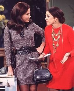 mary and rhoda - groovy outfits! Especially the red dress!