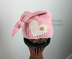 Upcycled Newborn Hat Baby Girl Hat Upcycled by simplycutieful, $12.00