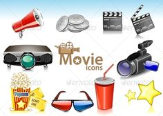 Realistic Graphic DOWNLOAD (.ai, .psd) :: http://vector-graphic.de/pinterest-itmid-1005216494i.html ... Movie Icons ...  camera, cinema, clapper, clapperboard, collection, digital, director, entertainment, film, frame, glasses, icons, movie, movie icon, player, popcorn, projection, projector, stars, ticket, vector, watching, web  ... Realistic Photo Graphic Print Obejct Business Web Elements Illustration Design Templates ... DOWNLOAD…