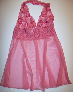 Victorias Secret Babydoll Halter Night Gown Slip Mesh Lace Pink Extra Small XS  #VictoriasSecret #Gowns