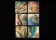 Handmade, sgraffito-carved ceramic  wall tile by Natalie Blake  #tileart