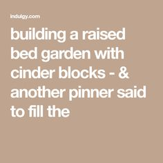 """building a raised bed garden with cinder blocks - & another pinner said to fill the """"holes"""" with flowers/herbs! Raised Garden Beds, Raised Beds, Cinder Blocks, Fill, Herbs, Sayings, Building, Flowers, Concrete Blocks"""