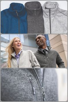 Men's Sweater Knit Fleece Jacket. soft fleece zip-up jacket. Zippered size pockets and one chest pocket. Available in Athletic Grey Heather, Blue Heather, and Black Heather. Embroidery available! Ideal for business professionals, sports teams, and casual wear. #fleece #jacket #zipup #warm #soft