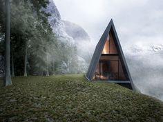 Découvrez la maison triangulaire, située au bord d'une falaise