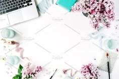 Workspace with laptop and diary by Floral Deco on @creativemarket | Styled stock photos | Business Photos | Desk Photos