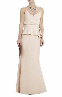 Possible bridesmaid gown? Gracie Strapless Peplum Gown from BCBG, these always are crazy discounted at bloomingdale's when they have a sale or at the outlets.. so pretty! I think this is a blush??