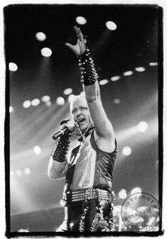 Rob Halford - Judas Priest. Seen them at the Roxy Amsterdam while filming the clip for Johnny B. Goode. 1987 I believe