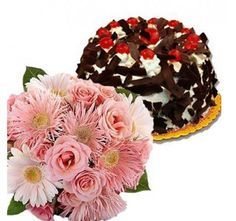 12 Pink Flowers With Black Forest Treat Send Birthday Gifts Online Best