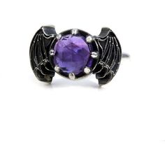 Rose Cut Amethyst Bat Wing Gothic Engagement Ring Sterling Silver... ($275) ❤ liked on Polyvore featuring jewelry, rings, sterling silver rings, sterling silver amethyst ring, sterling silver gothic rings, wing ring and rose cut engagement ring