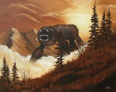 This guy buys random landscape paintings from garage sales and paints in monsters. Awesome!