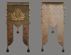 Another example of Elizabethan banners... handmade stenciling on velvet.