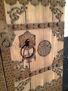 antique chinese courtyard doors elm and iron 62 wide by 89 high - Antique Door Hardware