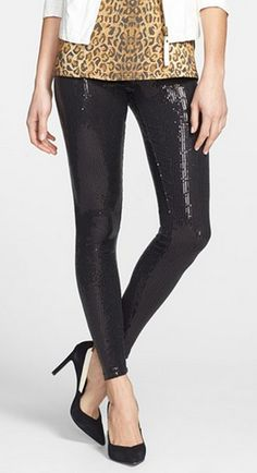 Sparkly leggings? Such a great alternative to wearing a dress on NYE!