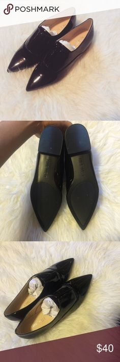 NINE WEST shiny pointy flats Perfect condition. Basically brand new used once for like 30 mins. Size 6M. No trades. Bundle and save. 10% off bundles! Please use the offer tool Nine West Shoes Flats & Loafers
