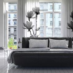 "Monika Strigel ""Mulan Magnolia"" White Gray Decorative Sheer Curtain #modernliving #urban #living #apartment #white #black #flower #magnolia #photography #curtain #windowcurtain #sheercurtain #monikastrigel"
