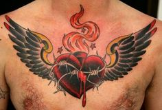 Heart Wings Tattoos on Red Sacred Heart Tattoo Design Spreading Its ...