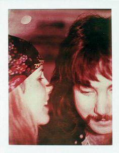 Stevie   ~☆♥❤♥☆~         wearing a scarf tied around her head bohemian-style, whispering secrets to Richard Dashut in the studio, 1975; photo courtesy of Richard Dashut