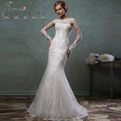 0e1ea66a9e8e Bröllop klänning · 2016 Elegant Long Sleeve Lace Mermaid Wedding Dress With  Detachable Jacket Wedding Gown vestido de noiva