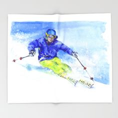 Watercolor skier, skiing illustration Throw Blanket