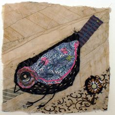 Unframed appliqued bird with embroidery on to vintage crazy quilt scrap Bird Applique, Wool Applique, Applique Quilts, Paper Birds, Fabric Birds, Fabric Art, Bird Quilt, Crazy Patchwork, Quilt Labels