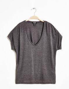 tee-shirt col V gris anthracite chiné
