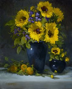 Linda Dobkin - Sunflowers and Pansies- Oil - Painting entry - March 2016 | BoldBrush Painting Competition