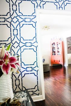Contempo Trellis Wall Stencil by Royal Design Studio - Modern Blue and Pink Living Room Foyer Decor - Painted by Changing Chaney