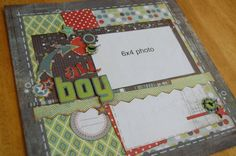scrapbook generation  1 photo, grey, green, masculine