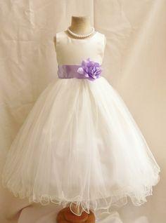 Robes fille fleur Ivoire avec lilas FD0FL par NollaCollection