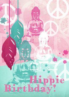 Verjaardagskaart Hippie Birthday - Verjaardagskaarten - Kaartje2go