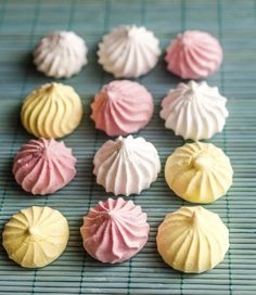 Pastel Meringue Kisses Recipe.  4 eggs whites; 1 cup granulated sugar; Pinch of cream of tartar; 1/2 teaspoon of clear vanilla extract; Gel food coloring of your choice. 175 degrees, lined baking sheet.