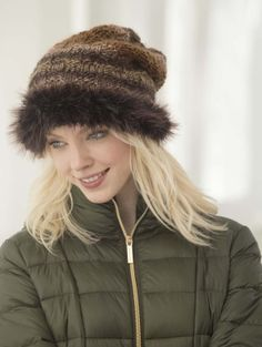 Get ready for winter with this knit Woodstock Slouch Hat trimmed with Pelt, our new faux fur yarn.