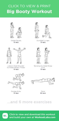 Big Booty Workout –click to view and print this illustrated exercise plan created with #WorkoutLabsFit