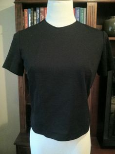 Vintage Kay Windsor Black 3/4 Back Zip Short Sleeve Top