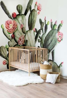 Anewall features a fresh, large design cactus flower wallpaper for Summer. Our Prickly Pear Mural comes in 6 panels and has a smooth, matte finish. This cute, cactus wallpaper is hand painted in soft greens and pinks and is perfect for nursery wall decor. Deco Cactus, Cactus Flower, Cactus Art, Cactus Plants, Cactus Terrarium, Cactus Drawing, Nursery Wall Decor, Room Decor, Nursery Design