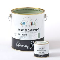 Annie Sloan Wall Paint tin and tester pot in Duck Egg Blue, a greenish soft blue. Wall Paint is a tough, water-based household paint that takes whatever life throws its way. It's robust, smooth and easy to use with a luxurious matt finish and a very slight sheen. This colour is also available as Chalk Paint®.
