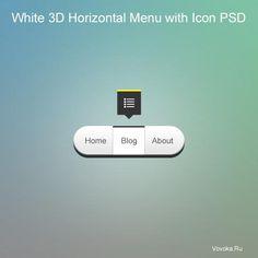 3D Горизонтальное Меню с Иконкой PSD