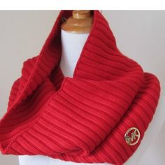 Michael Kors red infinity scarf Authentic Michael Kors red knit infinity scarf, great condition, pretty red color with gold logo, bundle to save 20%❤️ Michael Kors Accessories Scarves & Wraps
