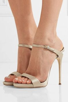 Heel measures approximately 130mm/ 5 inches Mushroom satin Buckle-fastening strap Designer color: Champagne Made in Italy