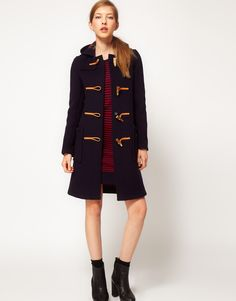 Gloverall Slim Long Duffle Coat in New Check Back