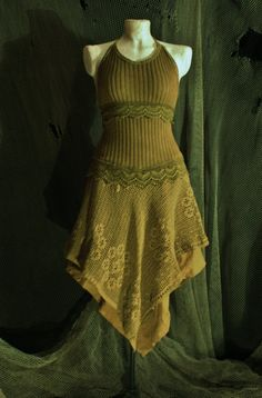 victorian boho gypsy elf dress in a warm olive green mustard knitted cotton and vintage cotton crochet lace. €160.00, via Etsy.