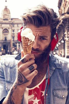 ice cream bilf... nice looking man wearing T-shirt and denim shirt, all in red and blue #man #menfashion #icecream