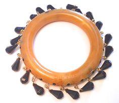 Prada Signed Butterscotch Bracelet with Crystal by CrimsonVintique, $325.00