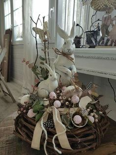 Easter Bunny, Easter Food, Easter Recipes, Bunny Rabbit, Grapevine Wreath, Flower Arrangements, Centerpieces, Wreaths, Spring