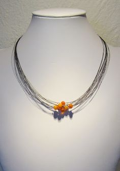Necklace - Horse hair, Baltic amber and sterling silver